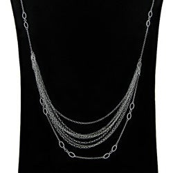 Dolce Giavonna Sterling Silver 24-inch Multi-strand Runway Necklace (1 mm)