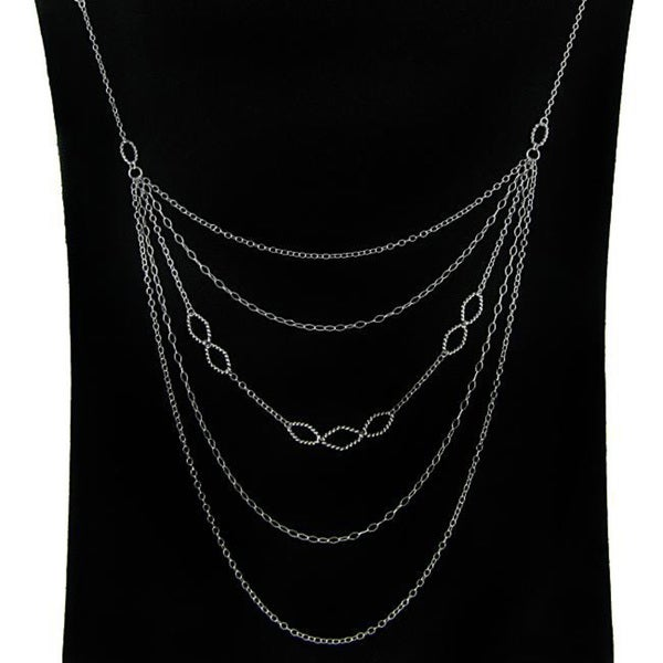 Dolce Giavonna Sterling Silver Multi-strand 24-inch Runway Necklace (1 mm)