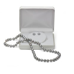DaVonna Silver FW Pearl 18-inch Necklace and Earring Set with Gift Box (7-8 mm)