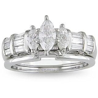 Miadora 14k White Gold 1ct TDW Diamond Bridal Ring Set (G-H, I1-I2)