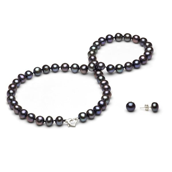 DaVonna Silver Black FW Pearl Necklace and Earring Set with Gift Box (8-9 mm)