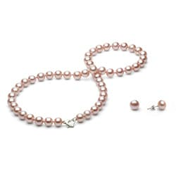 DaVonna Silver Pink FW Pearl Necklace and Earring Set with Gift Box (8-9 mm)