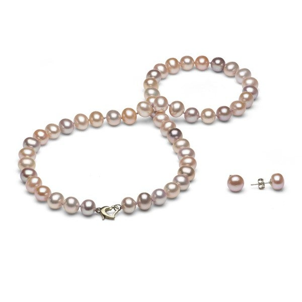 DaVonna Silver FW Pearl Necklace and Earring Set with Gift Box (8-9 mm)