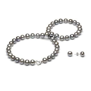DaVonna Silver Grey FW Pearl Necklace and Earring Set with Gift Box (8-9 mm)