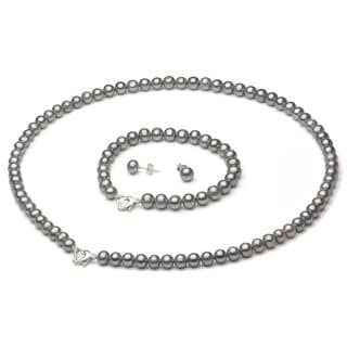 DaVonna Silver FW Pearl Necklace Bracelet and Earring Set with Gift Box (6-7 mm)