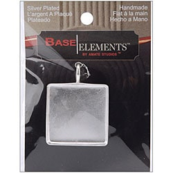 Base Elements Silver Overlay 31.77-mm Square Pendant Base