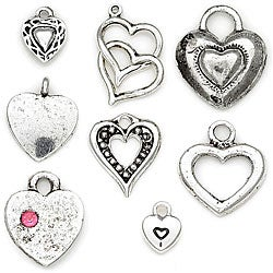 Blue Moon Tokens Silver 'Heart' Metal Charms (Pack of 8)