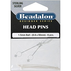 Sterling Silver 6-piece Head Pins Ball Packages