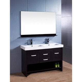 Design Element Citrius Espresso Double Sink Bathroom Vanity with Mirror