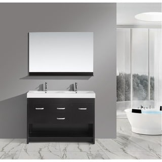 Design Element Citrius Espresso Double Sink Bathroom Vanity with Faucets and Mirror
