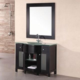 Design Element Catherine Tempered Glass Wood Bathroom Vanity Set