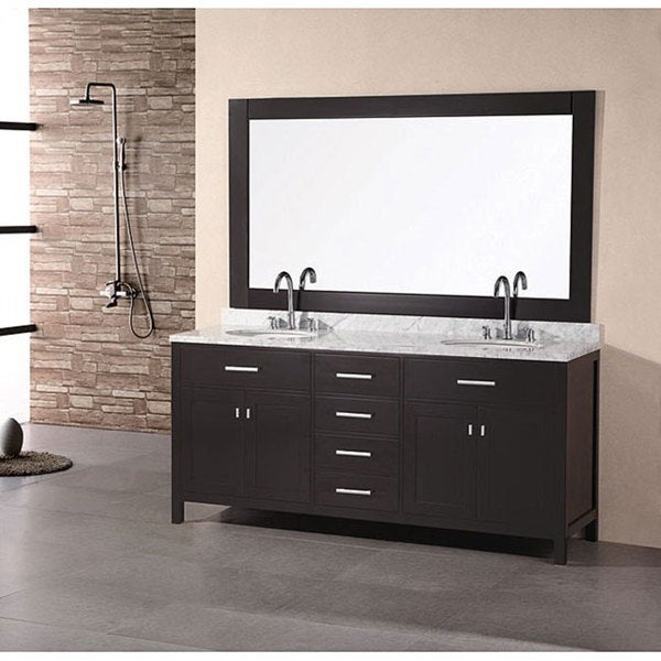 Element London 60inch Espresso Double Sink Vanity Set with Mirror