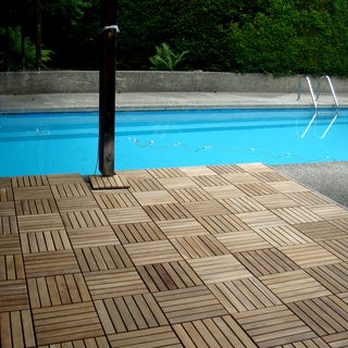 Le click Teak Interlocking Deck Tiles, Set of 10 Floortiles to cover 10sf, natural finish