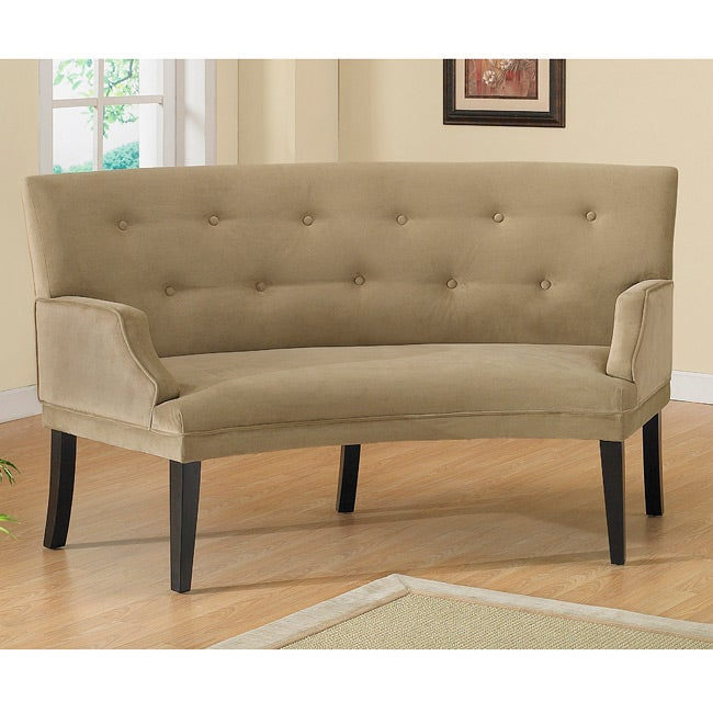 Hilton button tufted curved loveseat 12737063 shopping great deals on sofas Curved loveseat sofa