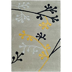 Handmade Soho Golden Vine Grey New Zealand Wool Rug (2' x 3')