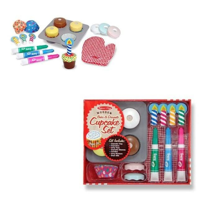 Melissa Kids' Wooden Play-food Bake and Decorate Cupcake Set
