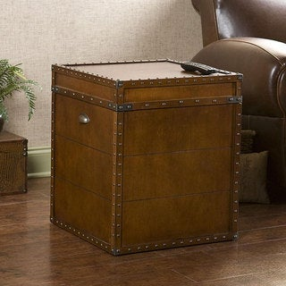 Upton Home Steamer Walnut Finish Trunk End Table