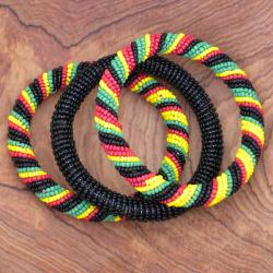 Set of 3 Red, Green and Yellow African Bangles (Kenya)