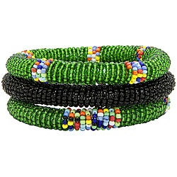 Set of 3 Green and Black African Bangles (Kenya)