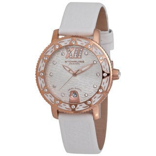 Stuhrling Original Women's 'Lady Marina' White Leather Strap Watch