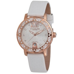 Stuhrling Women's 'Lady Marina' White Leather Strap Watch