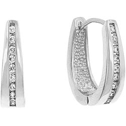 Kate Bissett Silvertone Channel-set Clear Cubic Zirconia Hoop Earrings