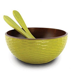 Mango Wood Avocado Serving Bowl and Servers (Thailand)