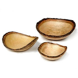 Mango Wood 3-piece Round Bowl Set (Thailand)