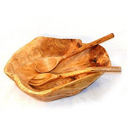 Fir Wood Rootworks Extra Large Bowl with Servers (China)