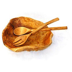 Fir Wood Rootworks Large Bowl with Root Servers (China)