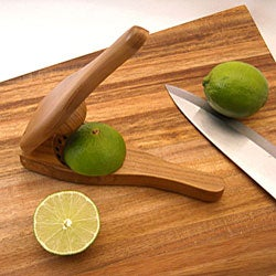 Handmade EcoTeak Wood Lime Squeezer (Thailand) with Brass Fittings