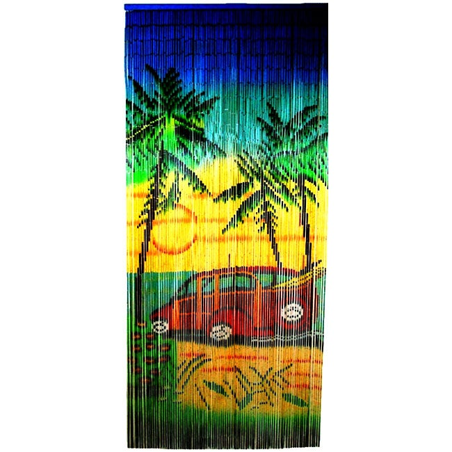 Painted Bamboo Beads Woody Car Curtain from Vietnam (36' x 78')