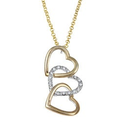 Two-tone Crystal Extra Large Interlocking Heart Necklace