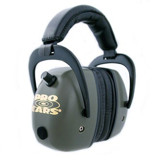 Pro Ears - Pro Mag Gold - Electronic Hearing Protection and Amplification - NRR 30 - Shooting Range Ear Muffs - Green
