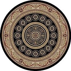 Aubusson Black Oriental Rug (5'3 Round)