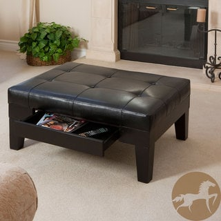Christopher Knight Home Chatham Black Bonded Leather Storage Ottoman