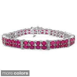 Malaika Sterling Silver Gemstone and White Sapphire 2-row Link Bracelet
