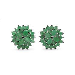 Malaika Sterling Silver Emerald Flower Stud Earrings