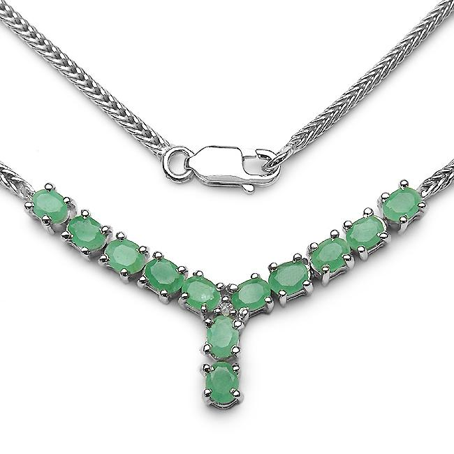 Malaika Sterling Silver Oval-cut Emerald and Diamond Accent 'Y' Necklace