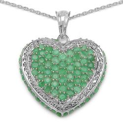 Malaika Sterling Silver Round-cut Emerald Heart Necklace