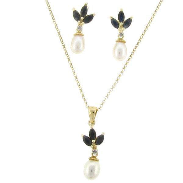 Dolce Giavonna 18k Gold over Silver Sapphire, Pearl and Diamond Accent Jewelry Set (5-6 mm)