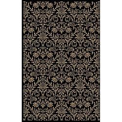 Damask Black Oriental Rug (6'7 x 9'3)