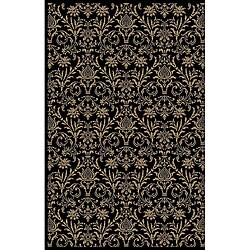 Damask Black Oriental Rug (5'3 x 7'7)
