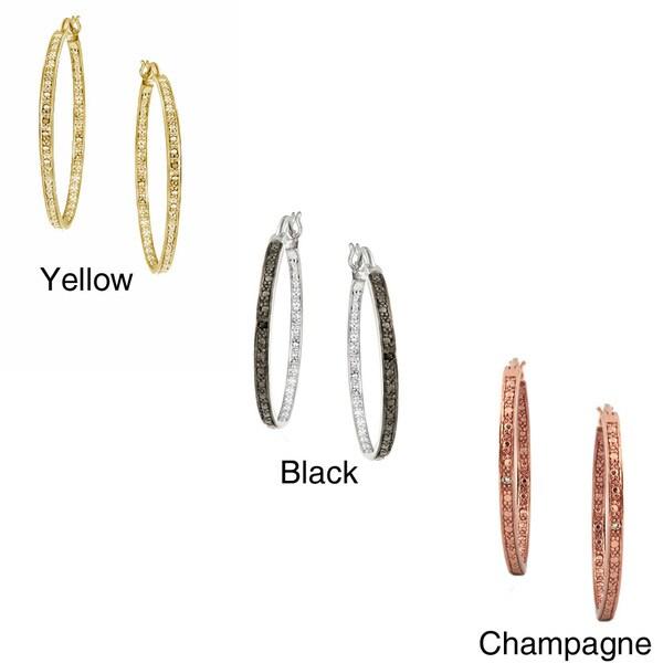 DB Designs Sterling Silver 32-mm Black Diamond Hoop Earrings