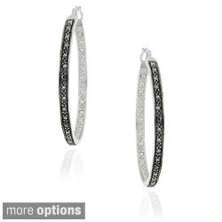 DB Designs Sterling Silver 32-mm Black Diamond Hoop Earrings
