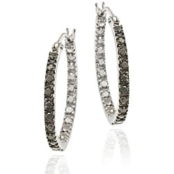 DB Designs Sterling Silver 20-mm Black Diamond Accent Hoop Earrings