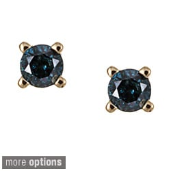 10k Gold 1/8ct TDW Blue Diamond Earrings