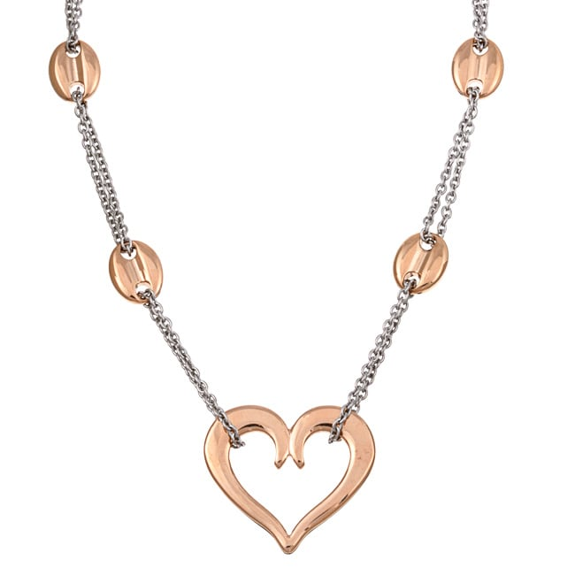 Kabella Two-tone Stainless Steel Open Heart Double-link Necklace