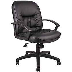 Boss Mid-back LeatherPlus Bonded Leather Task Chair
