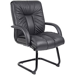 Boss Italian Leather Mid-Back Guest Chair